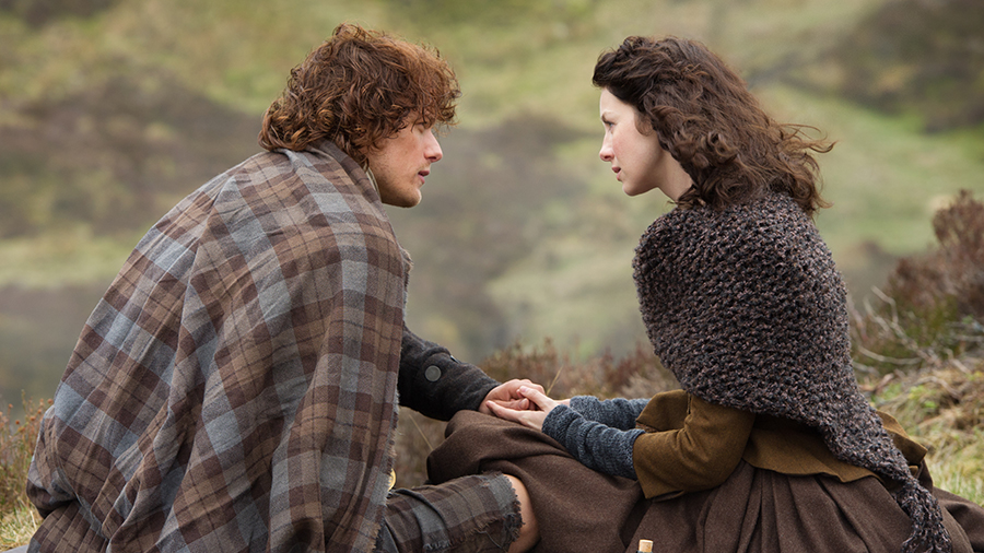 """Sam Heughan and Caitriona Balfe, """"Jamie Fraser"""" and """"Claire Fraser"""""""
