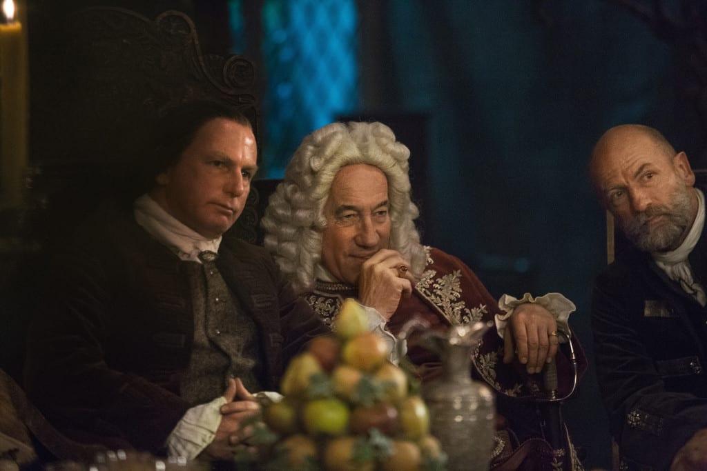 'Outlander' Season 1B, Colum MacKenzie (Gary Lewis), Duke of Sandringham (Simon Callow), and Dougal MacKenzie (Graham McTavish)