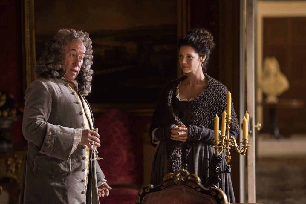 'Outlander' Season 1B, Duke of Sandringham (Simon Callow) and Claire Randall Fraser (Caitriona Balfe)