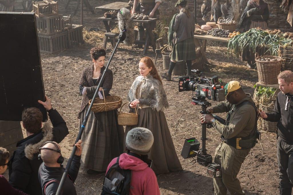 'Outlander' Season 1B  Behind the Scenes, Claire Randall Fraser (Caitriona Balfe) and Geillis Duncan (Lotte Verbeek)