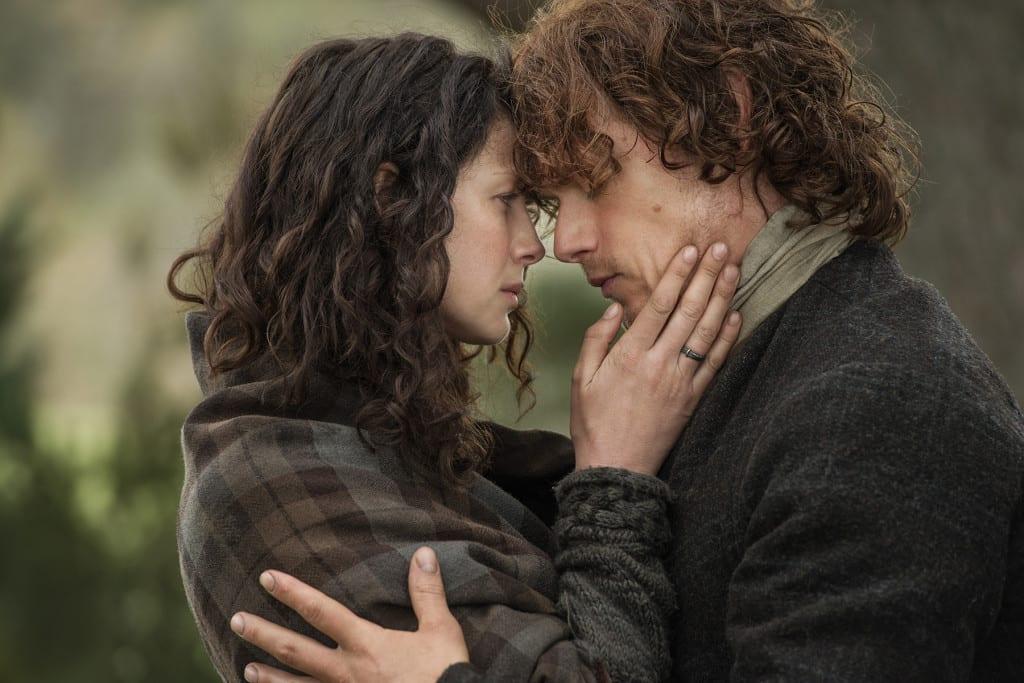 'Outlander' Season 1B Claire Randall Fraser (Caitriona Balfe) and Jamie Fraser (Sam Heughan)