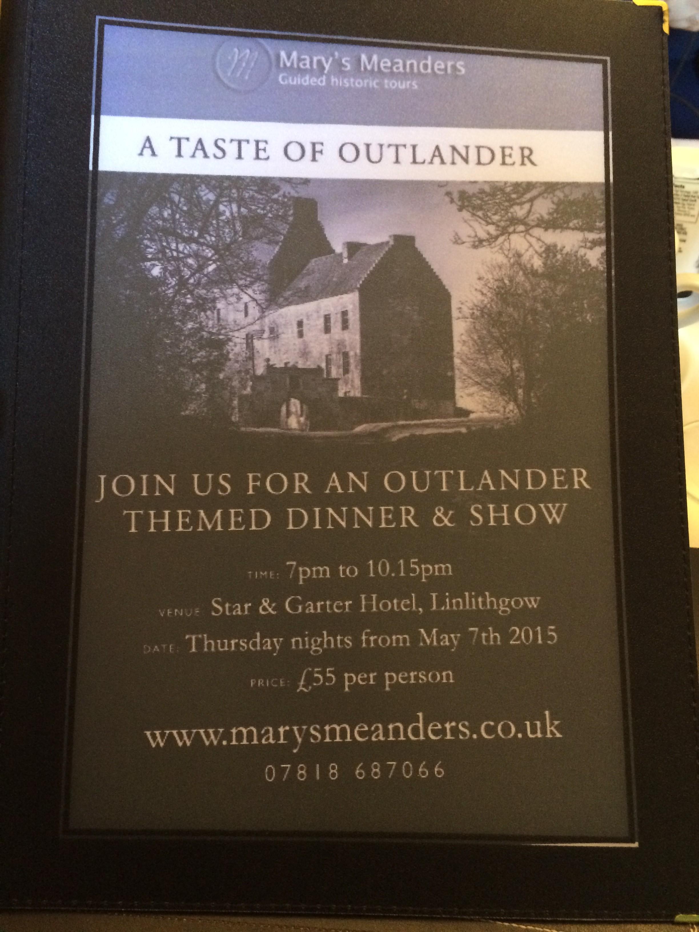 Menu--A Taste of Outlander