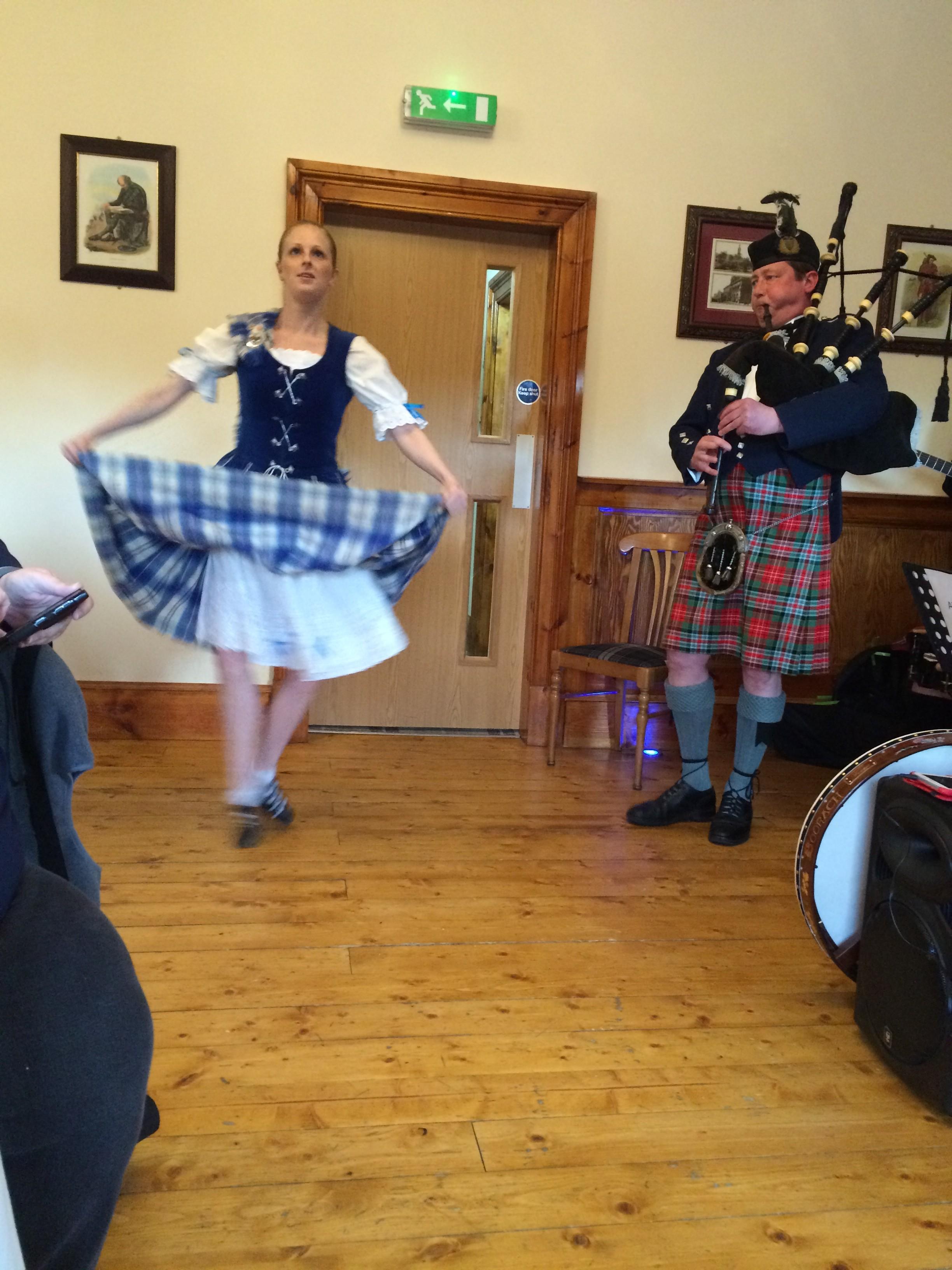 Scottish dancer and Graeme the piper
