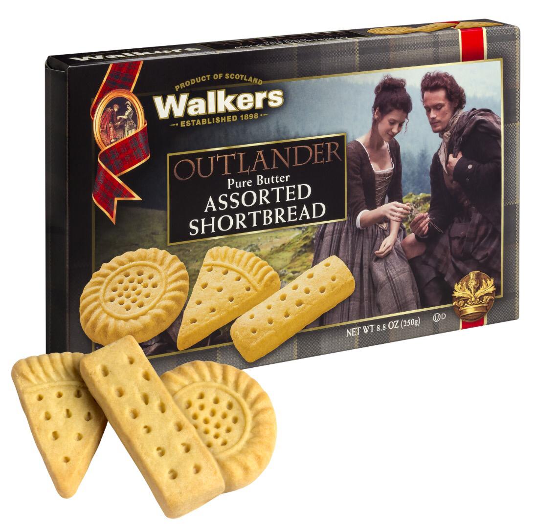 Outlander-themed Walkers Shortbread packaging