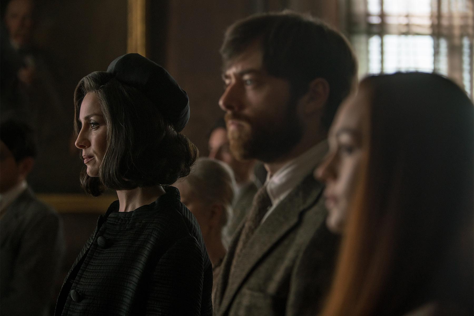 Caitriona Balfe (Claire Randall Fraser), Sophie Skelton (Brianna Randall) and Richard Rankin (Roger Wakefield)