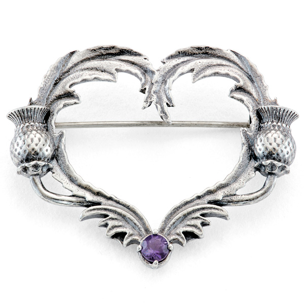 'Outlander' Thistle Heart Brooch by RockLove Jewelry